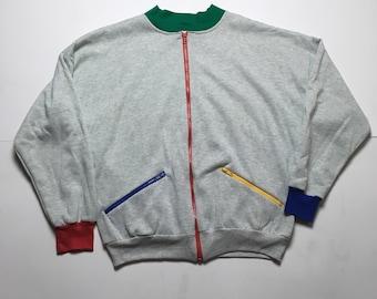 90s Zip up Sweatshirt - Rainbow Coloured Sweatshirt - Gray Sweatshirt with Colourful details - 90s Sweatshirt - 90s Sweater - 80s Sweatshirt