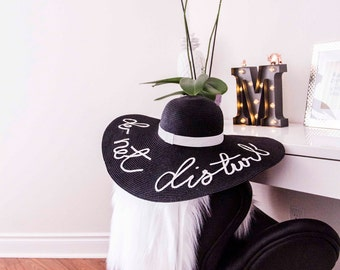 BLACK COLOUR HAT - Custommade Women Summer Hat, Any words, letter - Straw  - your design - pompons, party, bride, bridesmaid - gift