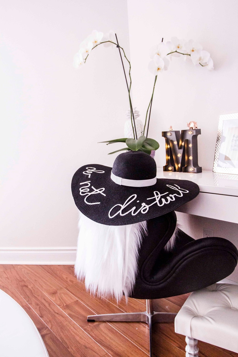 Black Colour Hat  Custommade Women Summer Hat, Any Words, Letter  Straw
