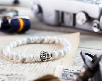 6mm - White howlite beaded silver smiling Buddha stretchy bracelet, made to order yoga bracelet, mens bracelet, womens bracelet