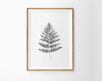 Black and white leaf print - Minimalist botany art - Botanical art prints - Black and white leaf - Modern home decor - Printable leaves