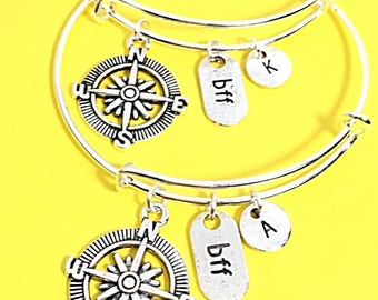 Personalized Friendship Set of Two Bangle Bracelets Initial Jewelry Gift For Friend Customized Silver Bangles 2 Bff Jewelry Distance Friends