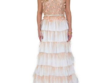 Tiered Ostrich Feather Gown