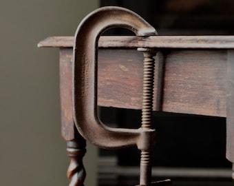 Two antique C clamps, J H Williams &Co C clamp, Wilton Chicago C clamp