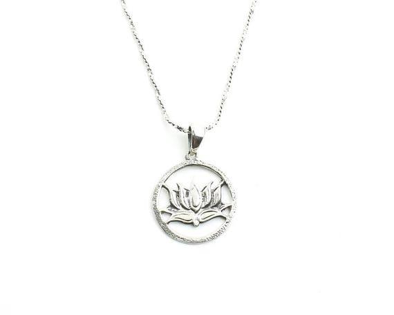 Sterling Silver Lotus Flower Necklace, Yoga Jewelry, Meditation, Spiritual, Boho, Gypsy, Festival, Hippie