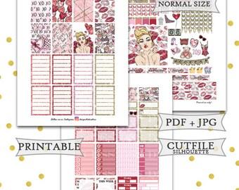 Valentineskiss Printable Planner Stickers/Happy Planner Stickers/February Monthly Planner Stickers/Printable Glitter Valentines Sticker