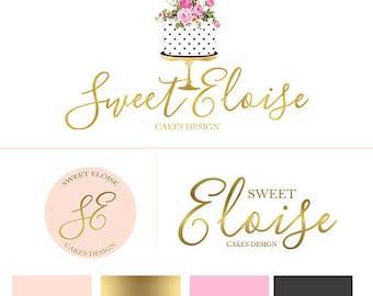 Branding package cake logo set, premade bakery logo design, bakery branding kit