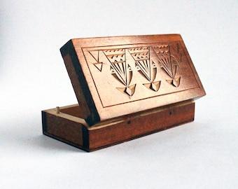 Small carved wood box , Vintage Lithuanian ethnic wooden trinket box , tiny keepsake box , handmade jewelry box w/ folk ornaments , 1960's