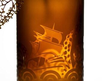 ANCIENT MARINER VASE - Recycled Amber Bottle (The Kraken)