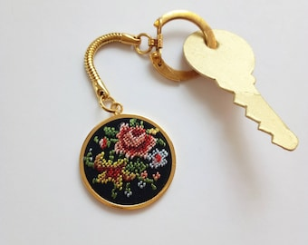 SALE Vintage keychain / Embroidered keychain / Key ring / Keychain for woman / Gold round keychain / Germany keychain