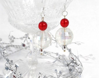 christmas earrings, christmas cocktail earrings, christmas jewelry, gift for her, holiday earrings, red and crystal, New Years jewelry