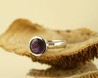 Amethyst Ring - Large Amethyst Ring in 925 Sterling Silver-Christmas Gift For Her-February Birthstone Ring - Ready to Ship