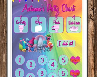 Trolls Themed Reward Chart & Potty Chart - Digital PDF Files - or Minnie, Mickey, Frozen, Paw Patrol, Princesses, and more!