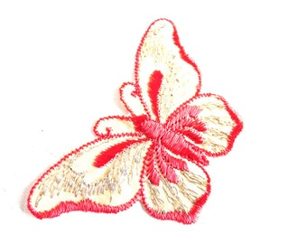 Butterfly applique, 1930s vintage embroidered applique. Vintage patch, sewing supply. Applique, Crazy quilt #64AGC8K2C