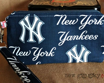 NY Yankees Logo Wristlet -  Yankees Wallet - MLB Zippered Pouch - Clutch - Gift - Quick Shipping - OOAK - Custom Made