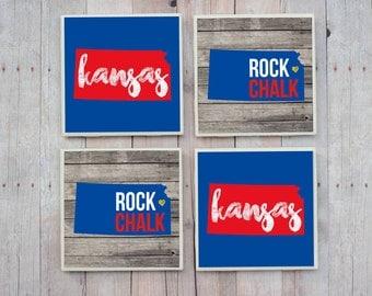 University of Kansas / University of Kansas Coasters / Jayhawks / KU / Rock Chalk / Coasters / Lawrence Kansas / Kansas Gift / Kansas Decor