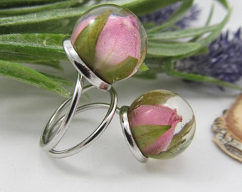 Resin ring Resin flower ring Nature ring Rose ring balls Resin Jewelry Pink ring Silver ring Double ring Real flower ring ring dry rosebuds