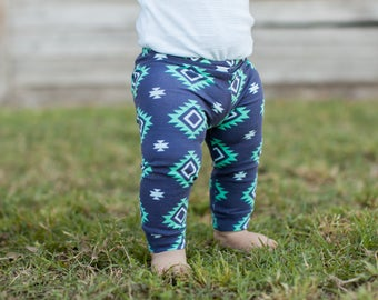 Turquoise and Navy Navajo Leggings for Baby, Toddler & Girls