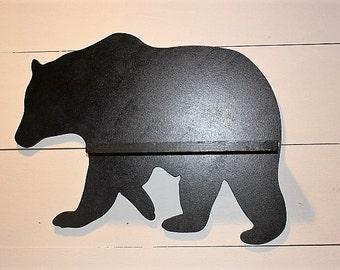 Black Bear Shelf, Black Bear Silhouette, Bear Wall Hanging, Cabin Decor, Cabin Shelving, Lodge Decor, Rustic Shelf