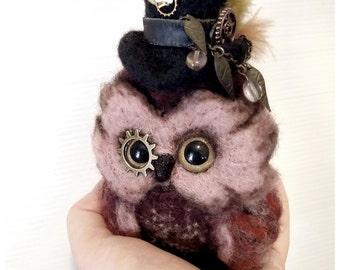 Steam punk Owl Philip.  Needle Felt Decoration. Home Decor.