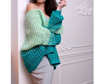 Mohair Knitted Cardigan - Oversized cardigan - Bomber Cardigan - Mint Cardigan - Hand knitted cardigan - Gradient knit cardigan