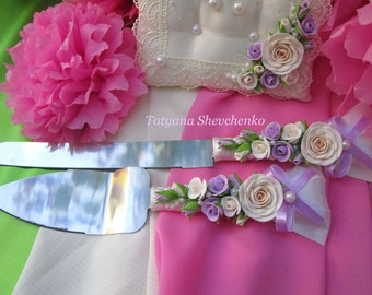 Personalized Wedding Cake Server Set purple ,ivory and beige. Cake Knife. Cake Cutting .Server purple  cake knife set of 2