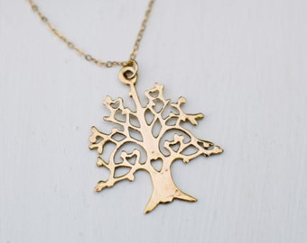 Gold necklace, Tree of life unique necklace, Everyday Dainty Necklace, Earthy jewelry, Gift for her, 18k gold filled, Delicate Gold Necklace