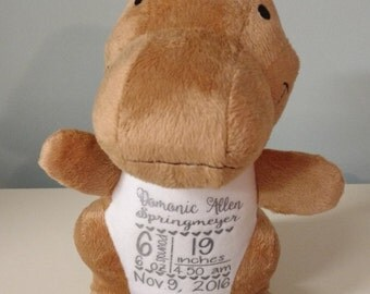 Personalized Stuffed Dinosaur. Baby Announcement. Custom Baby Gift.Plush Dinosaur.Birth stats.