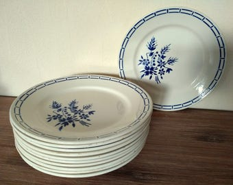 Set 11 french vintage dessert plates Badonviller France