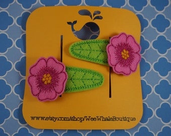 Flower & Leaf Right and Left Snap Clips, Hair Barretts, Felt Clippies