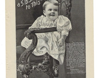 1899 Baby Food Vintage Ad Page: Eskays Albumenized Food