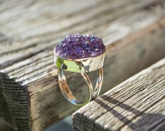 Amazing & unique Amethyst geode piece fits perfectly into a sterling silver 925 stamped ring bezel, US size women's 6