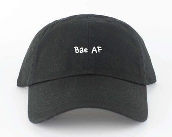Bae AF Hat - Black Embroidered Dad Hat - Polo Hat - Curved Brim Six Panel Fabric Strap Hat - Brand New