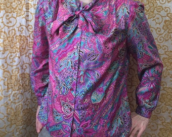 70s Kevin Stuart Collectibles Abstract Floral Watercolor Blouse Button Down Neck Tie Disco Top