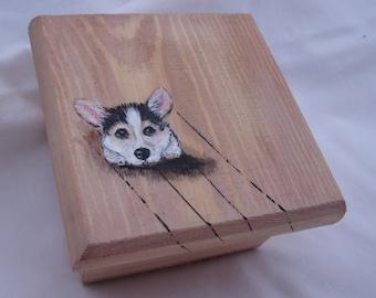 WelshCorgi,Corgi,Puppy,WoodenStorageBox,TrinketBox,GiftBox,TreasureBox,JewelryBox,HandPainted,Wooden,Original,Made In USA,FREE SHIPPING