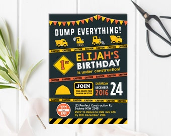 CONSTRUCTION Invitation. Construction Birthday Party Invite. Dump Truck  Bulldozer. Construction Chalkboard Printable Party Supplies. CONST1