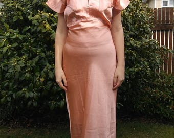1930s art deco peach pink nightgown with triangular bust pockets // large or extra-large