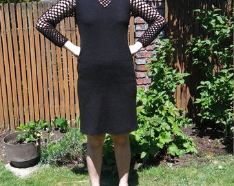 1960s sexy victorian-inspired Jane sweater dress with fishnet sleeves // small or medium