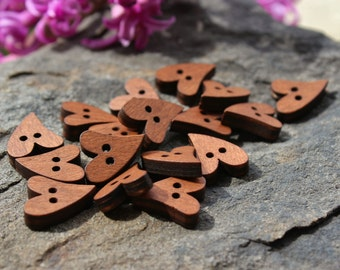 """3/4"""" Wood Heart Buttons, Heart Buttons, Cute Wood Buttons, Wood Buttons, Laser Cut Buttons, Craft Buttons, - Choose your Quantity"""