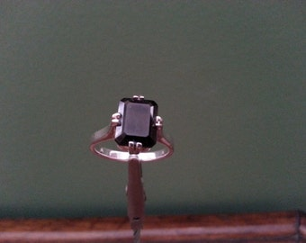 Vintage Smoky Quartz and Sterling Silver Ring - Size 7 3/4