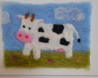 Needle felted cow, for a childs room