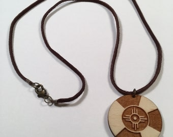 Wichita Flag Wood Pendant Necklace, Tribal Zia Natural Wooden Jewelry