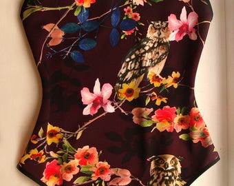 Womens swimwear Rave bodysuit Flower swimsuit Womens bodysuit Neoprene Open back swimsuit Suit swimwear One piece swimsuit Sheer swimsuit XS