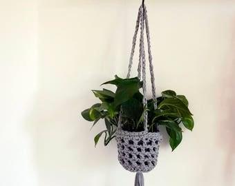 Grey hanging planter, large crochet plant hanger, indoor plant hanger, neutral home decor, modern home, scandi design, macrame, houseplants