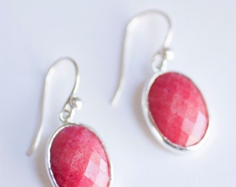 SHAKTI, earrings silver and agate-Agate earrings silver-made by hand