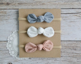 Set of 3 Knot Bow Nylon headbands, baby nylon headband, Knotted bows, newborn headband, baby shower gift set, nylon headband set