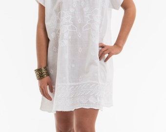 Dress 'LUCY' 100% cotton khadi, embroidery, for her, woman, gift for women's clothing, embroidery