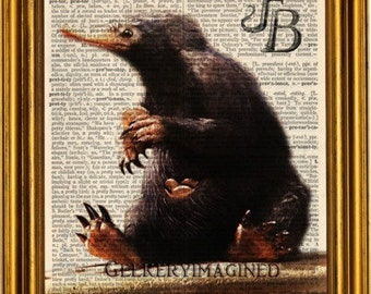 Fantastic Beast and where to find them art print poster, Fantastic Beast print, Fantastic beast decor, Fantastic Beasts poster, Niffler