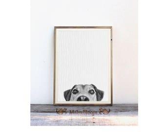 Puppy Black And White Photo Art, Funny Dog Peekaboo Print, Baby Dog Large Poster, Nursery Dog Wall Art, Baby Animal Poster