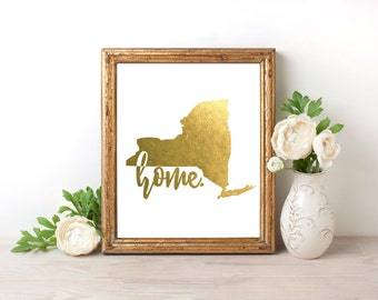 New York Home Gold Foil Print FREE US SHIPPING